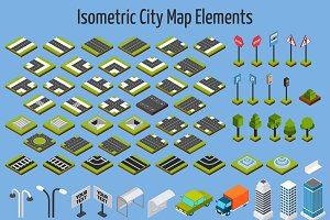 Isometric city map set