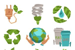 Ecology recycling icons set