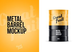 Metal Oil Barrel Mockup
