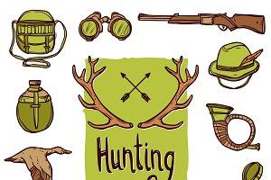 Hunting hand drawn icons set