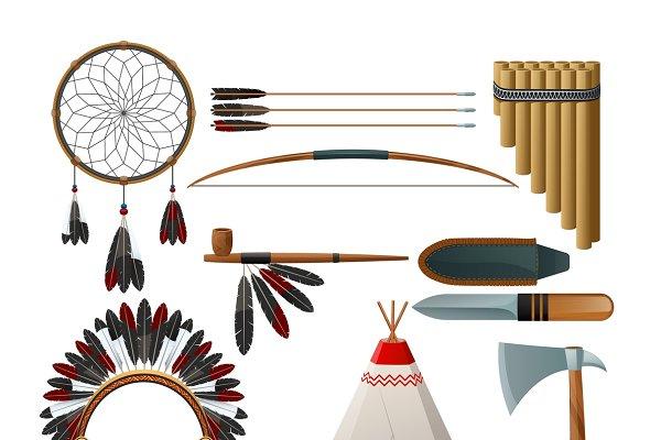 American indigenous culture set