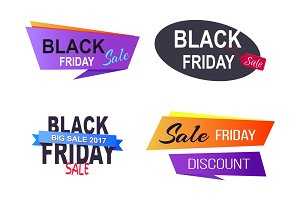 Black Friday Sale Badges on Vector Illustration