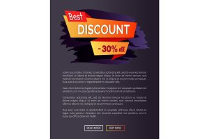 Best Discount -30% of Promo Poster with Text Label