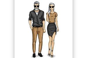 Vector woman and man models