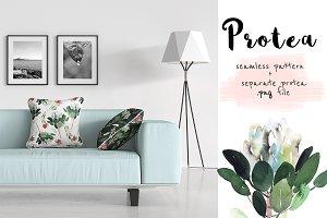 Protea watercolor pattern