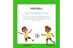 Banner with Indian Boys Playing Football Vector