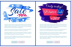 Only Today Winter Final Sale Off Promo Posters Set