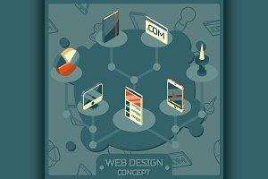 Web design color isometric concept