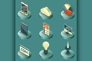Web design color isometric icons