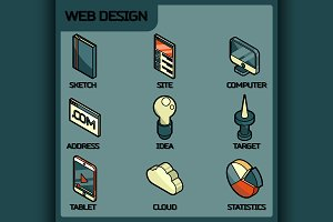 Web design color outline icons