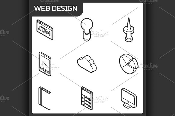 Web Design Outline Isometric Icons