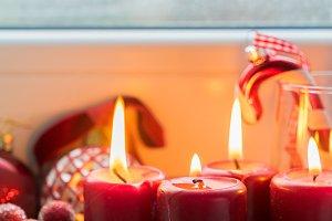 Christmas scene with burning light