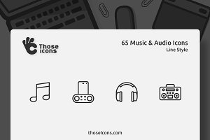 65 Music & Audio Vector Line Icon