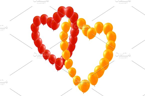 Red And Yellow Balloons Heart