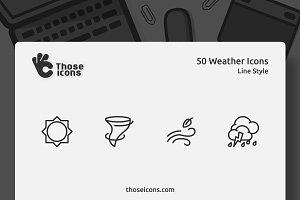 50 Weather Vector Line Icon