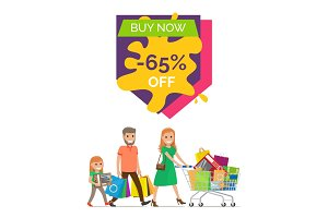 Buy Now -65% Off Promo Poster Vector Illustration