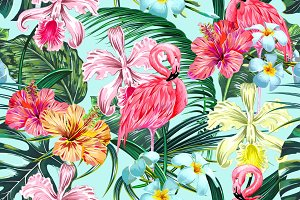 Tropical leaves,flowers,flamingos