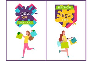 -30% Off Only Today Placards Vector Illustration