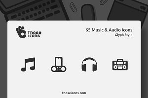 65 Music & Audio Vector Glyph Icon