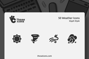 50 Weather Vector Glyph Icon
