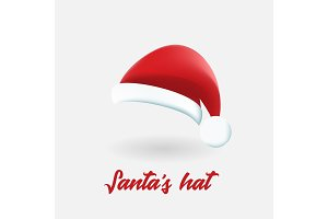 Santa Claus red hat vector illustration isolated on white background