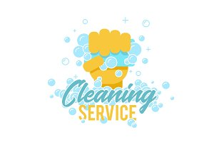 Cleaning service logo, symbol or label template