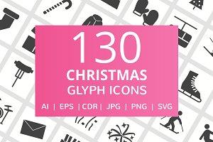 130 Christmas Glyph Icons