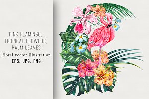 Flamingo,tropical flowers,leaves