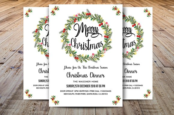 merry christmas dinner invitations invitation templates creative
