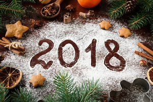 New Year Greeting 2018 Written On Flour