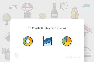 30 Charts & Infographic Color Icon