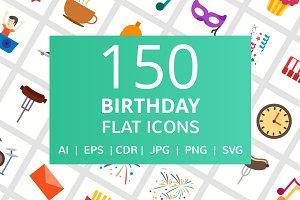 150 Birthday Flat Icons