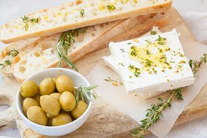 olives, feta and fresh ciabatta