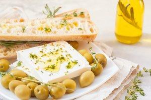 olives, feta and fresh ciabatta