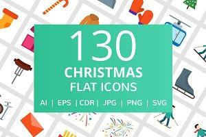 130 Christmas Flat Icons