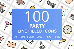 100 Party Filled Line Icons