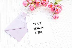 Floral invitation mockup