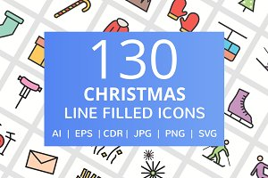 130 Christmas Filled Line Icons