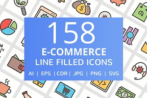 """ 158 E-Commerce Filled Line Icons """