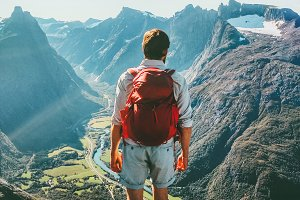 Man in Norway mountains Travel
