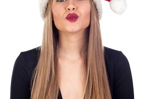 Attractive blonde girl in Christmas