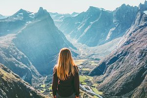 Woman in Norway mountains Travel