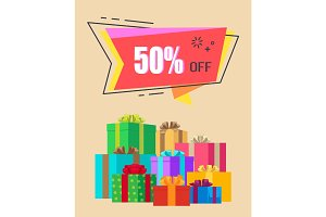 50% off Exclusive Discount Vector Illustration