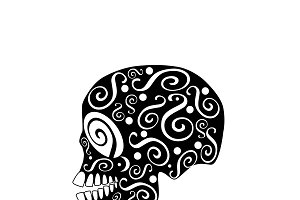Skull vector ornament black-white