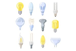 Collection of Different Bulbs Vector Illustration
