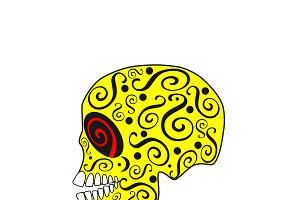 Skull vector ornament yellow