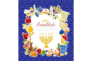 Jewish Holiday Hanukkah icons set. Vector illustration