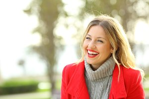 Funny woman wearing a red jacket