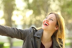 Portrait of a candid girl laughing