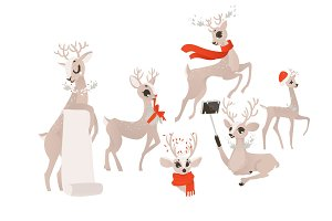 vector flat christmas reindeer isolated set